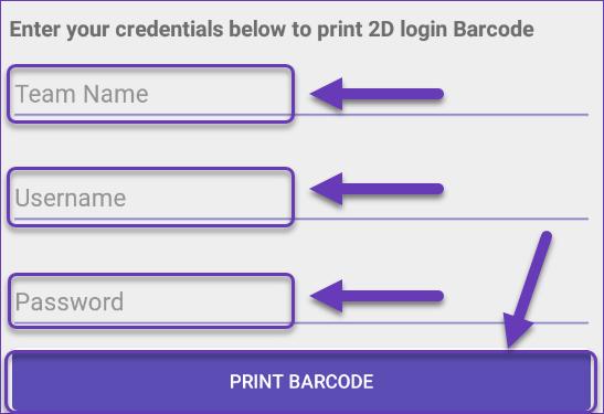 Print 2D login Barcode