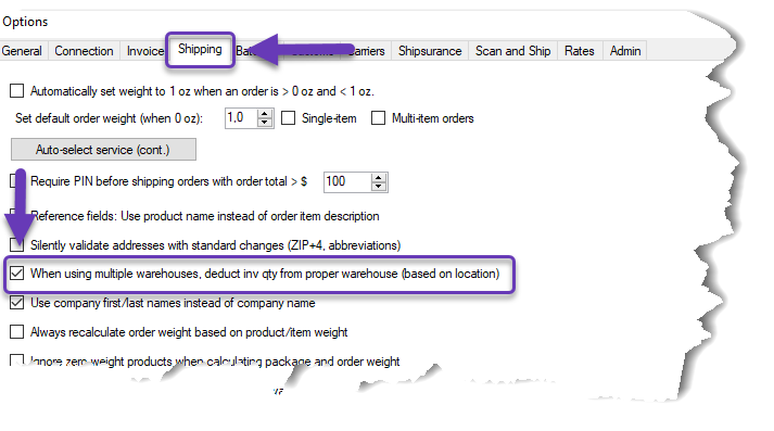 When using multiple warehouses, deduct inv qty from the proper warehouse (based on location) setting