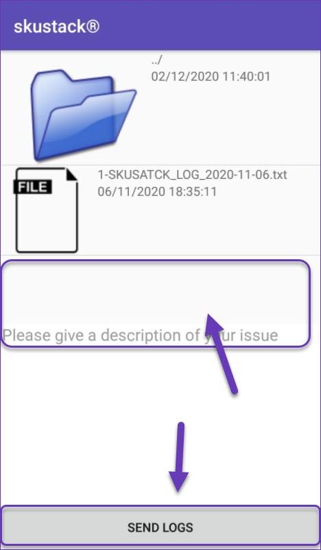 Sending logs from settings