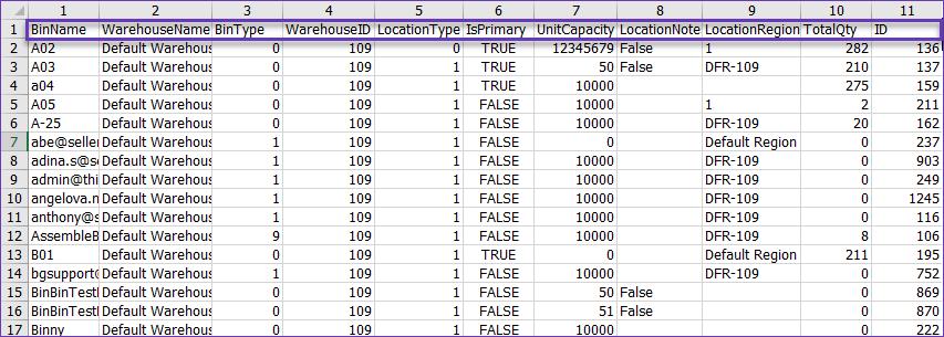 sellercloud skustack bin information excel template export example