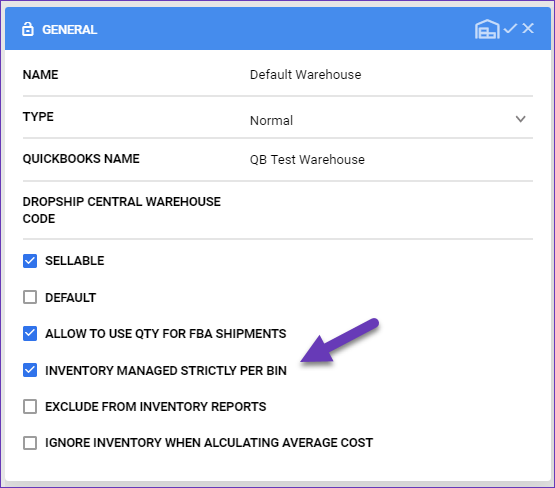 sellercloud skustack enable inventory managed strictly per bin