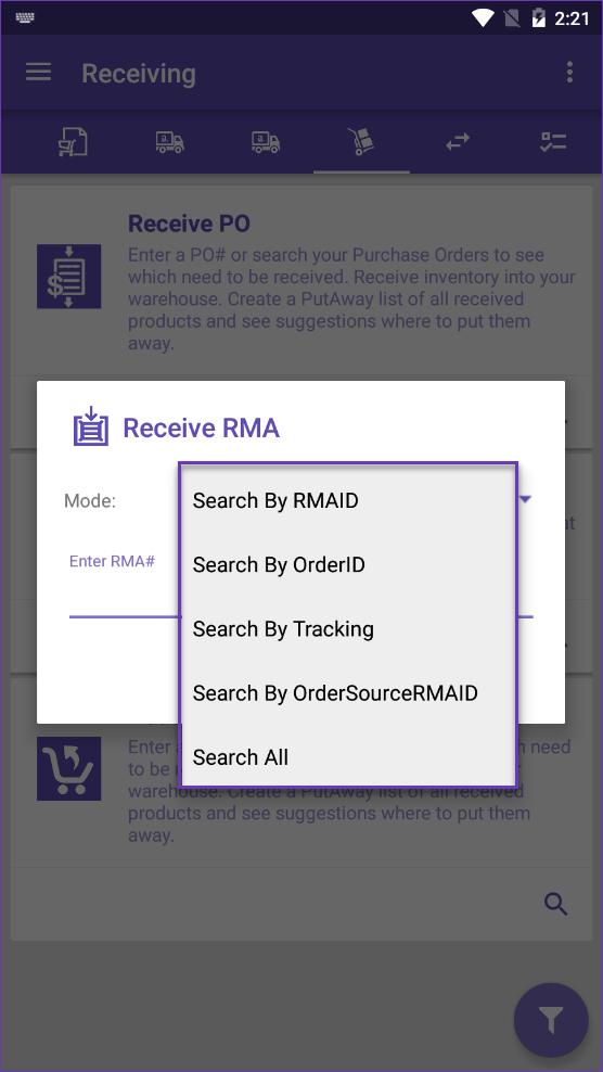 sellercloud skustack receive rma search modes
