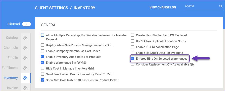 Enforce Bins on Selected Warehouses
