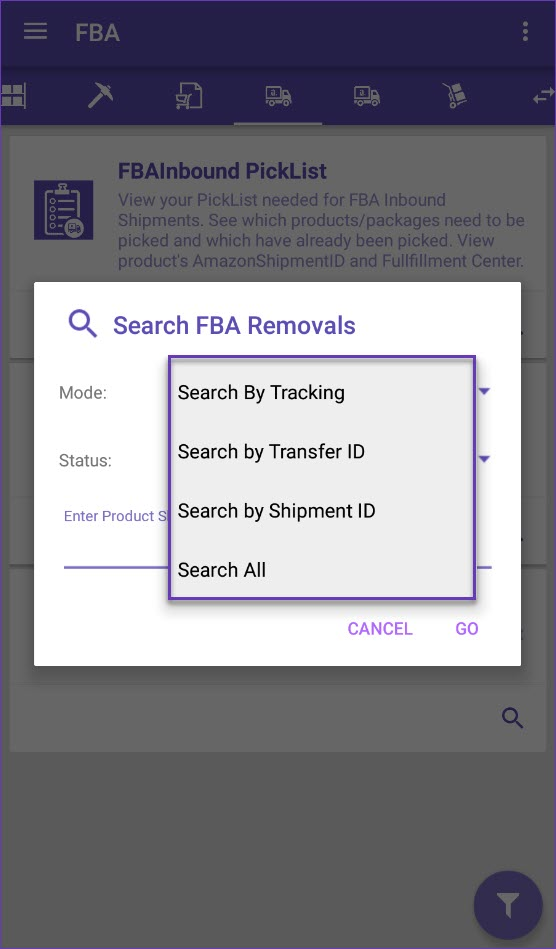 Search FBA removals options