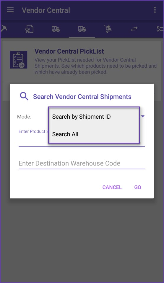 Vendor Central shipments search modes